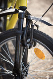 Mountainbikeslut för främre broms upp Fotografering för Bildbyråer
