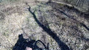 Mountainbiking in the forest stock footage