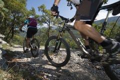 Mountainbiking - Mountain bike. Blurred downhill mountainbike on garda lake Stock Image