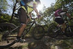 Mountainbiking - Mountain bike. Downhill mountainbike in green forest Stock Image