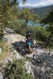 Mountainbiking - Mountain bike. Uphill mountainbike on garda lake Royalty Free Stock Images