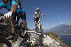 Mountainbiking - mountainbike Royaltyfria Bilder