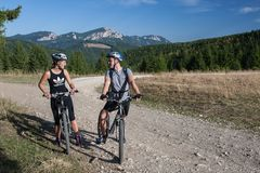 Mountainbiking nei Carpathians orientali immagini stock