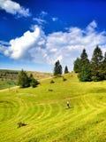 Mountaine与cluuds的自然风景 免版税图库摄影
