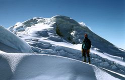 Mountaineer. In expedition through high mountains stock photo