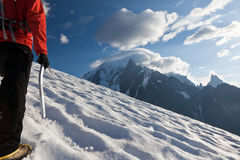 Mountaineer alone glacier Royalty Free Stock Photography