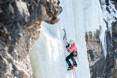 Mountaineer ascends the vertical icefall with ice picks. Woman mountaineer climbs on vertical icefall Royalty Free Stock Photo