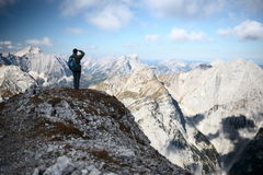 Mountaineer with backpack Royalty Free Stock Photo