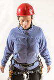 Mountaineer with climbing equipment Royalty Free Stock Photography