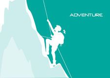 Mountaineer climbing on the rock, illustratons Royalty Free Stock Image