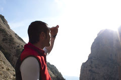 Mountaineer covering from the sun. In Huesca, Spain Stock Photography