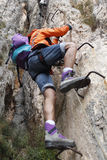Mountaineer doing a via ferrata. In Spain Royalty Free Stock Image