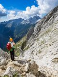 The mountaineer enjoying the view from the mountain stock image