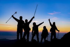 Mountaineer, expedition and the success of the team. Trekking&hiking;mountaineer, expedition and the success of the team Royalty Free Stock Photos
