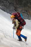 Mountaineer girl in a mountains Royalty Free Stock Photo