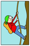 Mountaineer illustration. Stylized illustration of mountaineer climbing the mountain Stock Image
