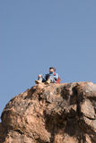 Mountaineer looking around stock photos