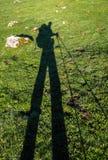 Mountaineer shadow in Picos de Europa mountains. Asturias Royalty Free Stock Photography