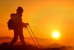 Mountaineer silhouette Stock Image