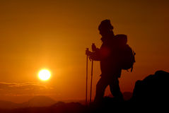 Mountaineer silhouette, hiking in slovenia Royalty Free Stock Images