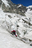 Mountaineer on snow and ice Royalty Free Stock Photography