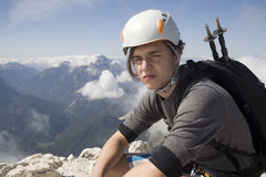 Mountaineer on the summit Royalty Free Stock Photos