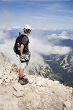 Mountaineer on the summit. In Julian alps Stock Photography