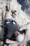mountaineer on the summit  in Jul Stock Photography