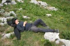 Mountaineer / Taking A Nap Stock Photography