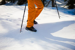 Mountaineer walking on snow. Royalty Free Stock Photo