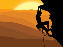 Mountaineering. Vector illustration of a mountain climber Stock Images