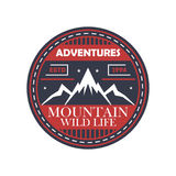 Mountaineering adventures vintage isolated badge. Outdoor explorer sign, touristic camping label, nature expedition vector illustration Royalty Free Stock Images