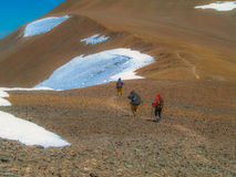 Mountaineering in the Andes. Climbers in high mountains - Cerro Vallecitos - Andes - Mendoza - Argentina stock image
