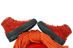 Mountaineering Boots and Rope Stock Photo