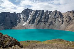 Mountaineering camp at Ala-Kul lake in Kyrgyzstan Stock Photos