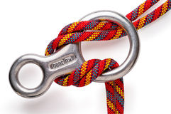 Mountaineering: descender. Mountaineering: figure 8 aluminium descender with double rope with clipping path Stock Image