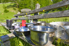 Mountaineering dish kit. Travel set for eating. Stock Image