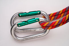 Mountaineering: doubled oval a. Luminium carabiners (UNSAFE! see other picture Stock Images