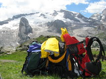 Mountaineering equipment. With Marmolada glacier on the background Stock Photo