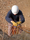 Mountaineering equipment and climber stock photos