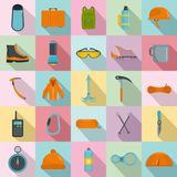 Mountaineering equipment icons set, flat style. Mountaineering equipment icons set. Flat illustration of 25 mountaineering equipment vector icons for web Royalty Free Stock Images