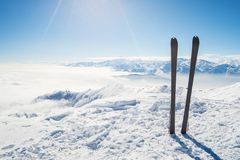 Mountaineering equipment on top Royalty Free Stock Photo