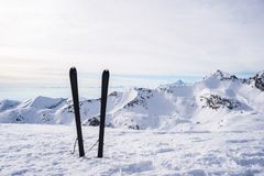 Mountaineering equipment on top Royalty Free Stock Photos