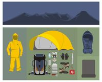 Mountaineering equipments illustration Stock Image