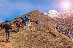 Mountaineering Expedition moving toward high Altitude Mountain Sunshine Royalty Free Stock Photography