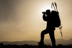 Mountaineering guide & sightseeing guidance. Mountaineering guide on the mountains.Mountaineering activities Stock Photos