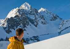 Mountaineering in high mounts Royalty Free Stock Images