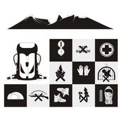 Mountaineering Icon Set. Containing illustration of various mountaineering items Royalty Free Stock Images