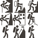 Mountaineering icons Royalty Free Stock Photo