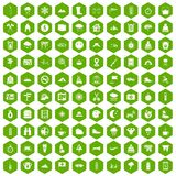 100 mountaineering icons hexagon green. 100 mountaineering icons set in green hexagon isolated vector illustration Stock Photo